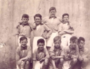 Foireann Scoile 1950:  Back: Paddy McGovern, Charlie McCormack, Aidan Canning, Liam Wrynn. Front: Ronnie Histon, Francis Keegan, Tommy McCormack, Noel Sweeney, Pat Mullan